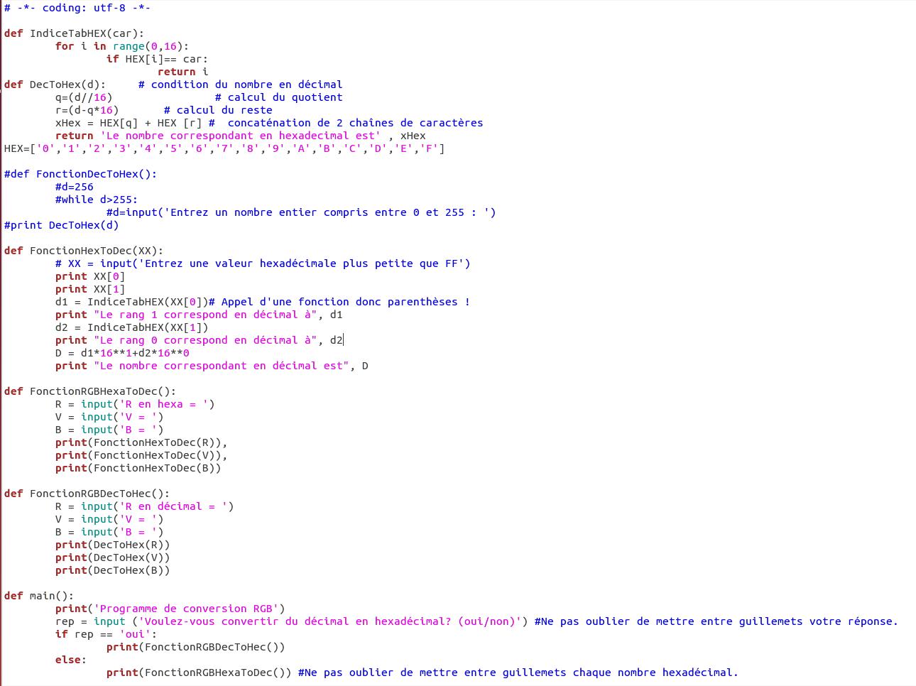 Programmation Python : convertisseur RGB hexadécimal avec