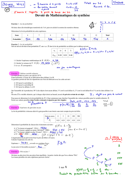 2019-04-26-CorrectionDevoir.Wims-ProbabilitesSuites1