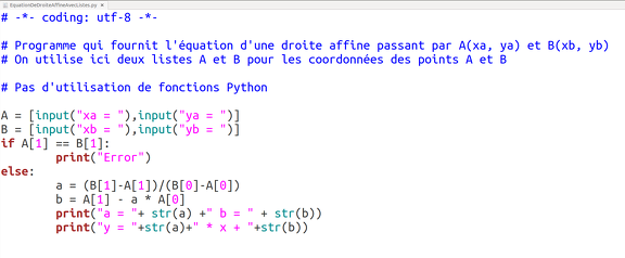 2014-12-01-EquationDroiteAffine-Python-Listes